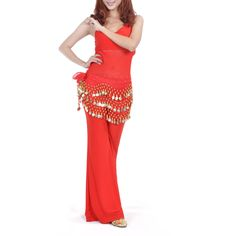 Opentip.com: BellyLady Belly Dance Hip Scarf 158 Gold Coins Dance Skirt Christmas Gift Idea