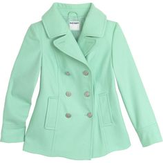 mint green pea coat ❤ liked on Polyvore