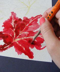 angelina la dawn tomato: watercolor fall leaves