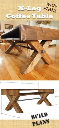 X-Leg Coffee Table | with Plans Farmhouse Industrial by DIY Montreal. #diyprojects #diyideas #diyinspiration #diycrafts #diytutorial #diy
