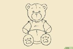 How to Draw a Teddy Bear. This tutorial will show you a few easy steps on how to draw a teddy bear. Draw a shape that is narrow on top and is slightly wide on the bottom. Craft Projects, Projects To Try, Photo Book, Beautiful Images, Tatting, Snoopy, Teddy Bear, Shapes, Drawings