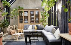 The sections in the KUNGSHOLMEN outdoor seating series are combined to create a sofa that suits the outdoor space.