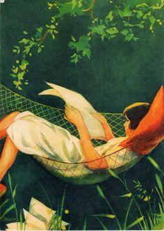 Martta Wendelin #illustration #reading #hammock