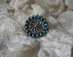 Vintage Sterling Silver With  Turquoise Pinwheel by cynthiasattic