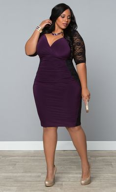 Rock your curves and get a great deal with our plus size Valentina Illusion Dress in purple.  www.kiyonna.com  #KiyonnaPlusYou  #MadeintheUSA  #Sale