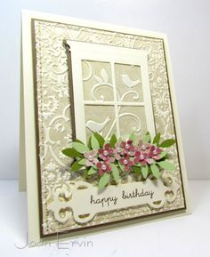 Stamps: Birthday Basics by PTI Paper: Vanilla, Soft Suede, Certainly Celery, Old Olive, Glitz Beautiful Dreamer dp for the flowers Ink: Soft Suede, Crumb Cake Accessories: Sewing Machine, Embossing folders, Martha Stewart Punches, Spellbinders Sentiment die, Poppy Stamps Window die, Pearls