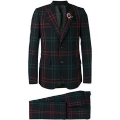 Gucci Checked Two Piece Suit ($2,980) ❤ liked on Polyvore featuring men's fashion, men's clothing, men's suits, gucci mens suits, mens formal suits, mens patterned suits, mens wool suits and men's 2 piece suits