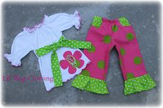 Custom Boutique Clothing Girl Strawberry Shortcake Knit Peasant Top  Pink Lime Disco Dots  Pant Birthday Girl. $39.99, via Etsy.