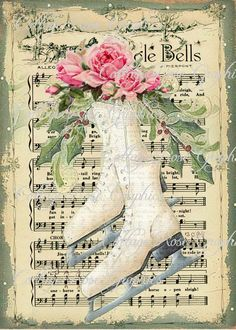 Vintage ice skates and pink roses images with Jingle Bells sheet music decoupage print art.