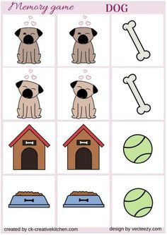 Cat and dog - Memory game free printables - Creative Kitchen Card Games For Kids, Memory Games For Kids, Dog Shadow Box, D Is For Dog, Puppy Classes, Pet Vet, Dog Games, Cute Cats And Dogs, Toddler Activities