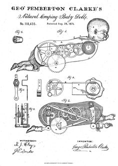 Clarke's Creeping Baby Doll patent drawing