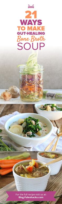 Indulge in these cozy bone broth soup recipes to nourish your gut and warm your soul! Get all recipes here: http://paleo.co/bonebrothrcps