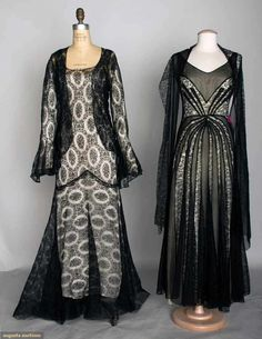 Vintage dresses: Two Black Lace Evening Gowns, 1930s, Augusta Auctions, November 13, 2013 - NYC