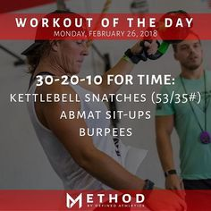 Workout of the Day February 26 2018 30-20-10 For Time: -Kettlebell Snatches- Alternating (53/35#) -ABMAT Sit-ups -Burpees by: @charlottefoerschlerphoto @definedathletics @definedathleticsmethod #definedathletics #method #workoutoftheday #wod #fitness #workout #training #taskpriority #fortime #kettlebellsnatches #abmatsitups #burpees