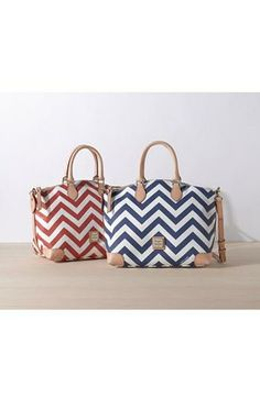 Cute chevron satchel! Red or Blue?