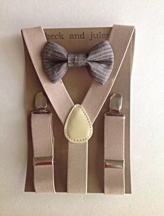 Little boy suspender and matching bow tie set by beckandjules