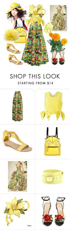 """""""The yellow holidays"""" by m-kints ❤ liked on Polyvore featuring Rosie Assoulin, MSGM, Kenneth Cole Reaction, Les Petits Joueurs, Balenciaga, Charlotte Olympia, Bobbl and trending"""