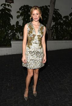 Elizabeth Banks Print Dress - Elizabeth Banks rocked an embellished printed dress with gold and red details that the actress paired with pointed heels for a put-together outfit.