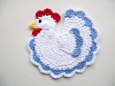 Crochet Chicken Rooster Country Farm Animal White and Blue Cotton Pot Holder Potholder Hot Pad Kitchen Decor Housewarming Gift