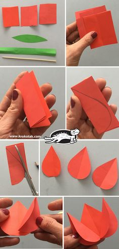 Paper Tulips (krokotak) children activities, more than 2000 coloring pages Craft Activities, Preschool Crafts, Easter Crafts, Christmas Crafts, Children Activities, Montessori Activities, Spring Crafts For Kids, Art For Kids, Paper Child