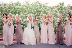 Bridesmaids. Blush wedding. Neutral. Mix and match. Bridesmaid dresses. Selfie. Wedding photography.