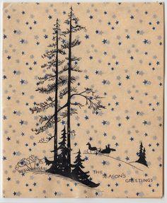 Vintage Greeting Card Christmas Art Deco People Horse Sleigh Landscape e174