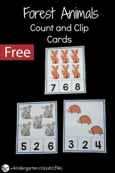 These free printable Forest Animals Count and Clip Cards are perfect for making math fun. Kids can practice subitizing, adding, and fine motor skills all at the same time! #countandclipcards #countandclip #math #counting #freeprintable #kindergarten #preschool
