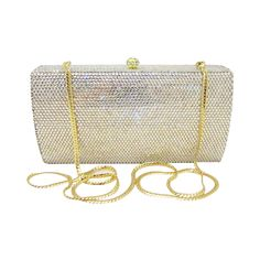 This Anthony David crystal clutch evening purse has a solid metal frame with a gold electroplated finish. The metal body is fully covered with hand-set clear Swarovski crystals. You can carry this ...