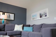"""feature wall color: benjamin moore's """"gray shower"""""""