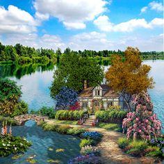Design Comics, Cottage Art, Thomas Kinkade, China Painting, Nature Wallpaper, Pictures To Paint, Amazing Gardens, Cute Art, Photo Art