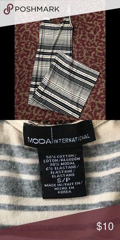 "MODA INTERNATIONAL Maxi Dress Black and off white stripe maxi dress. Stretchy Cotton/Elastane. 53"" from underarm to hem. 14"" from pit to pit Moda International Dresses Maxi"