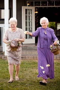 Want to keep your black tie event kid free? Enlist your grandmas to act as flower girls! These pictures prove that this idea is just as adorable! Plus, Grandma probably won't throw a tantrum while walking down the isle!