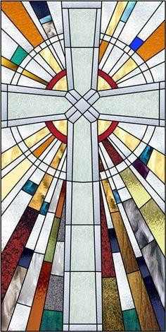 Pritchard Cross Decorative Window Film stained glass look cross rays radius Stained Glass Window Film, Stained Glass Church, Stained Glass Quilt, Faux Stained Glass, Stained Glass Designs, Stained Glass Projects, Stained Glass Patterns, Window Glass, Stain Glass Cross