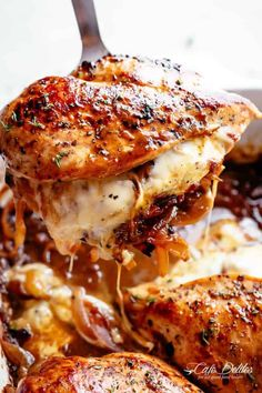 French Onion Stuffed Chicken Casserole makes for a delicious dinner! Juicy, succulent chicken breasts stuffed with caramelized onions and glorious melted cheese. A perfect weeknight or weekend dinner. Low Carb and Keto approved! Chicken Thights Recipes, Chicken Parmesan Recipes, Healthy Chicken Recipes, Cooking Recipes, Recipe Chicken, Onion Recipes, Cooking Tips, Stuffed Chicken Recipes, Gourmet Dinner Recipes