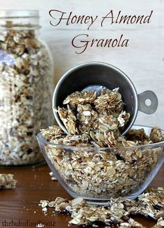 Honey Almond Granola Recipe, tried it! very good:) maybe use a little more grease, it was hard to get off of the cookie sheet