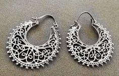 Silver Hoop earrings,Bohemian Jewelry,Filigree Silver hoops,BOHO EARRINGS,Tribal Brass earrings,minimalist earrings by AHAAVI on Etsy