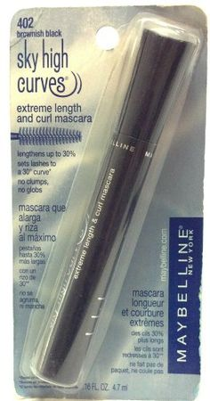 30b749320b3 Amazon.com : Maybelline New York 402 Brownish Black Sky High Curves Extreme  Length and Curl Mascara Imperfect Packages .16 Oz. (1 Each) : Sky High  Curves ...
