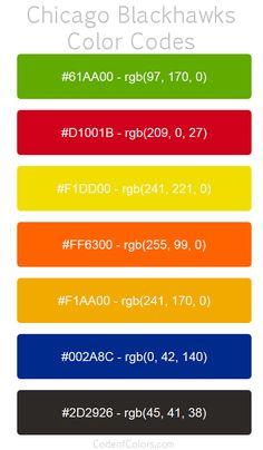 Chicago Blackhawks Team Color Codes