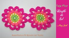 Video tutorial flor a crochet para principiantes - Video tutorial crochet flowers for beginners - Crochet Freetress Stitch Crochet, Crochet Chain, Quick Crochet, Crochet Buttons, Crochet Motif, Diy Crochet, Crochet Flower Tutorial, Crochet Flower Patterns, Doily Patterns