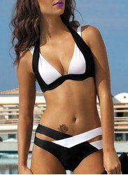 Chic Spaghetti Strap Color Block Criss-Cross Women's Bikini Set (WHITE,M) | Sammydress.com Mobile