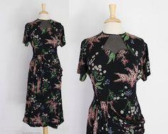 vintage 40s FLORAL Print RAYON DRESS / 1940s Navy Blue, Pink & Green, Sheer Peekaboo Neckline