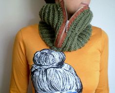 Unisex Chunky Cowl Zipper Cowl in Tweed Green Knit by bysweetmom, $37.00