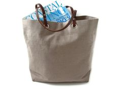 Basic Tote Bag Natural Neutral Taupe Linen by IndependentReign