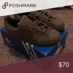 aab3348593d56b Adidas olive green shell toes only worn once Olive green comfortable shell  toes only worn once