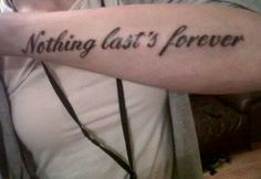 This tattoo (Nothing last's forever) fails. If you're going to get a tattoo, you must make sure the grammar and spelling are correct. Tattoo Fails, Tattoo Quotes, Tattoo Humor, Misspelled Tattoos, Horrible Tattoos, Grammatically Incorrect, Tattoos Gone Wrong, Forever Tattoo, Spelling And Grammar
