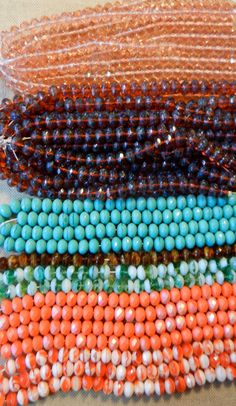 SALE Orange Green Brown Blue Amber And Pink by HammeredEdgeStudio