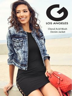 G by Guess Denim Jacket The Cheral Acid-Wash Denim Jacket Style: No buttons, no zips, no problems. This acid-wash denim jacket delivers the perfect cropped fit with an open design and slight stretch. Acid Wash Denim Jacket, New Wardrobe, Outerwear Jackets, Denim Skirt, Skirts, Women, Fashion, Jackets, Moda