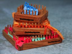 Wooden Peg Looms by Craftsanity. Recycle old t-shirts to make potholders, rugs etc.