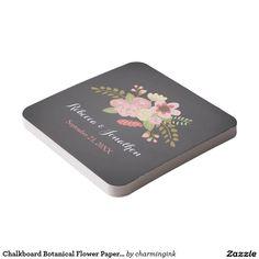 Chalkboard Botanical Flower Paper Coasters Square Paper Coaster