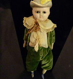 Antique Wax Over Papier Mache Wood  Doll Molded Hat Fancy